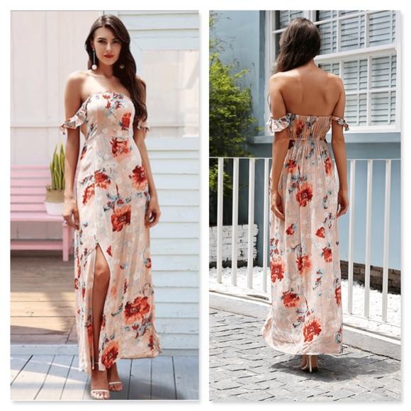 41619a9d34e9 Rouge! Dresses | Boho Floral Off Shoulder Maxi High Slit Dress ...